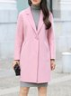 Pink Long Sleeve Solid Wool Coat