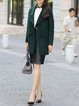 Dark Green Long Sleeve Lapel Plain Wool Coat