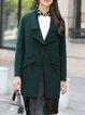 Dark Green Long Sleeve Lapel Plain Wool Coat