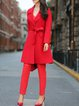 Red Casual Solid Pockets Wool Coat