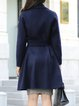 Dark Blue Long Sleeve Solid Wool Coat