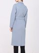 Light Blue Long Sleeve Wool Plain Lapel Coat