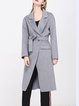 Gray Lapel Simple Slit Wool Coat