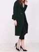 Dark Green Slit Long Sleeve H-line Wool Coat