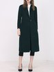 Dark Green Simple H-line Plain Wool blend Coat