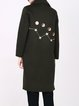 Army Green Embroidered Lapel Wool Long Sleeve Coat