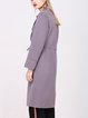 Purple H-line Simple Pockets Wool Coat