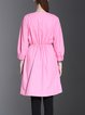 Pink Plain Cotton Long Sleeve H-line Coat