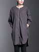 Deep Gray Cotton Casual Plain H-line Coat