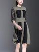 Army Green A-line Half Sleeve Crew Neck Color-block Midi Dress