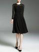 Black Crew Neck Elegant  Solid Midi Dress