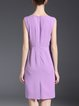 Purple Solid Sleeveless Midi Dress