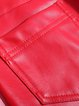 Red Buttoned Casual Skinny Leg Pants
