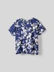 Blue Printed Crew Neck H-line Short Sleeve T-Shirt