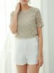 H-line Casual Floral Short Sleeve Crew Neck Short Sleeved Top