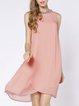 Chiffon Asymmetrical Casual Solid Midi Dress