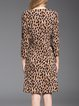 Brown Leopard Print Sexy Midi Dress