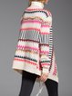 Multicolor Knitted Long Sleeve Geometric Cardigan