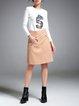 Khaki Casual A-line PU Midi Skirt