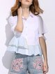 White Casual Color-block Ruffle Shirt Collar Solid Blouse