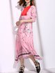 Color-block 3/4 Sleeve Printed Crew Neck Swing Boho Maxi Dress