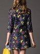 Letter 3/4 Sleeve Casual Mini Dress