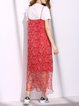 Crew Neck Elegant H-line Floral-print Maxi Dress