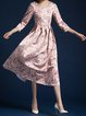 Pink Elegant Floral Floral-print Midi Dress