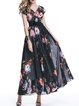 Floral Short Sleeve Boho V Neck A-line Maxi Dress