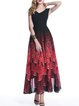 Red Sleeveless Printed V Neck Maxi Dress