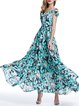 Blue Girly Floral-print Maxi Dress