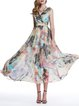 Multicolor Floral Chiffon Beach A-line Maxi Dress