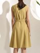 Camel Plain Casual Mini Dress with Belt