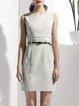 Paneled Sleeveless Elegant Plain Mini Dress with Belt