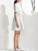 White A-line Cotton Shirred Casual Shirt Dress