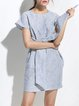 Light Blue Pockets Short Sleeve Stripes Shift Mini Dress
