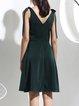 Dark Green V Neck Plain Sleeveless Midi Dress