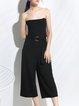 Black Off-shoulder Elegant Plain Polyester Jumpsuit