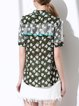 Green Casual Floral-print Shirt Collar H-line Blouse