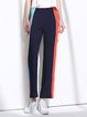 Navy Blue Casual Stripes Color-block Wide Leg Pants