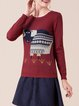 H-line Knitted Long Sleeve Crew Neck Casual Long Sleeved Top
