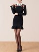 Black Casual Knitted Floral Sheath Sweater Dress