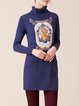 Appliqued Cotto-blend Long Sleeve Turtleneck Casual Mini Dress