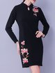 Vintage A-line Long Sleeve Embroidered Midi Dress