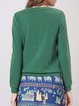Green FloralEmbroidered Casual Sweatshirt