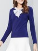 Crew Neck H-line Long Sleeve Casual Bow Blouse