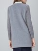 Gray Long Sleeve H-line Pockets Embroidered Coat