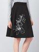 Black Printed Simple A-line Midi Skirt