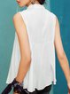 Beige Sleeveless Embroidered A-line Floral Tanks