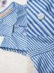 Blue A-line Shirt Collar Buttoned Casual Mini Dress